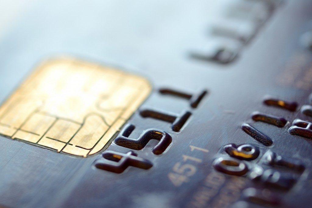 macro shot of credi card