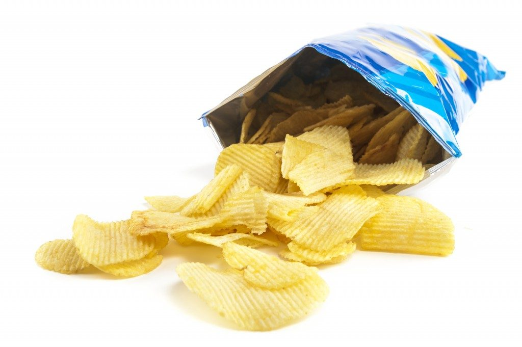 open bag of potato chips