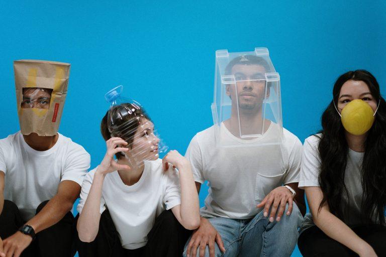 friends wearing protective headgear