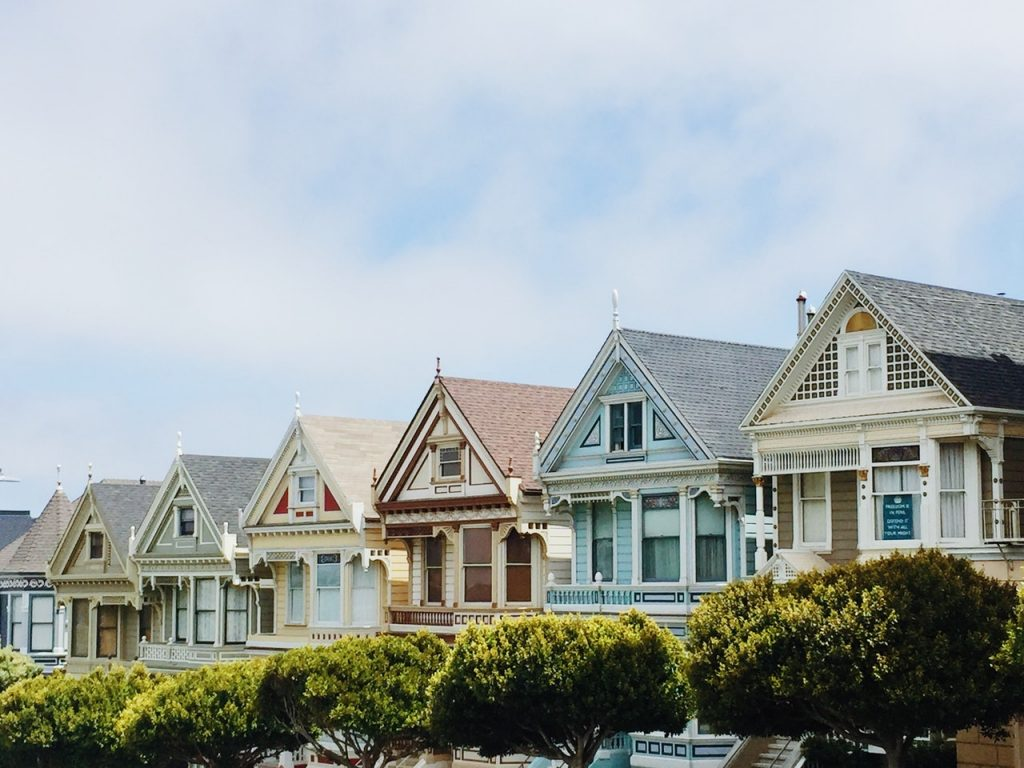 multicolored houses in a row